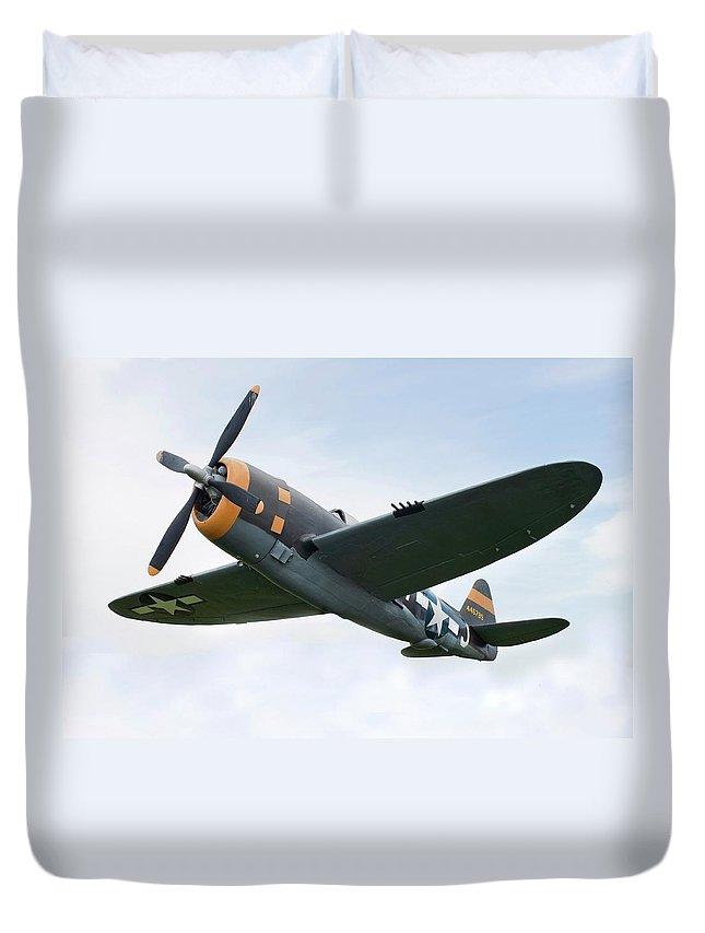 Air Attack Duvet Cover featuring the photograph Airplane P-47 Thunderbolt From World by Okrad