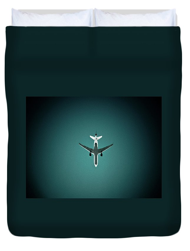 Outdoors Duvet Cover featuring the photograph Airplane Silhouette by Miikka S Luotio