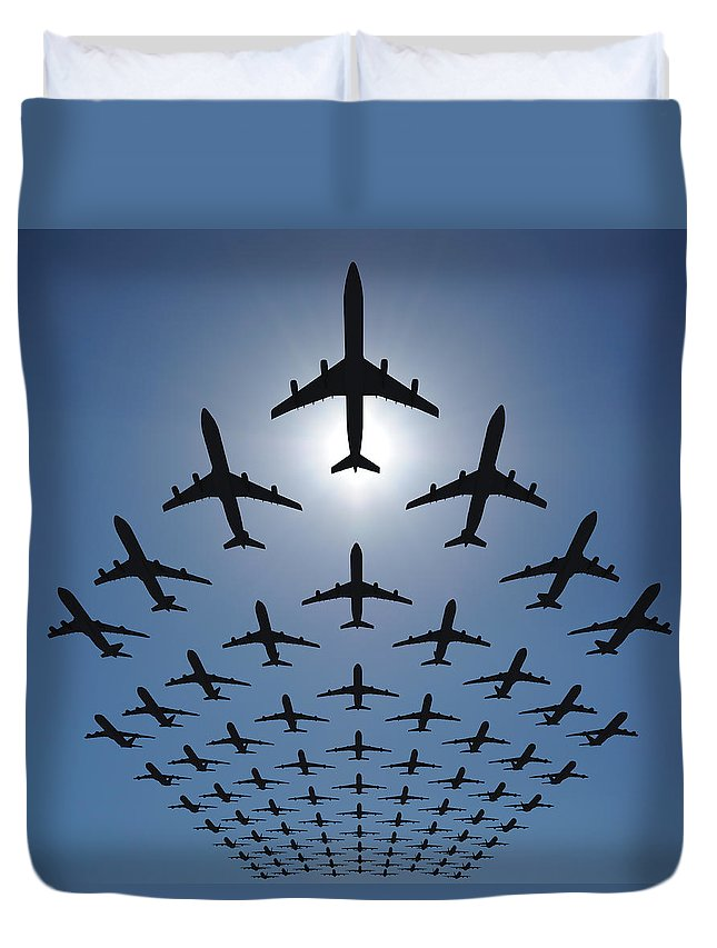 Expertise Duvet Cover featuring the photograph Airplane Silhouettes Fly In V Formation by Georgo
