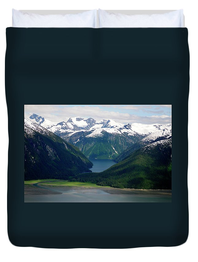 Extreme Terrain Duvet Cover featuring the photograph Alaska From The Air by Groveb