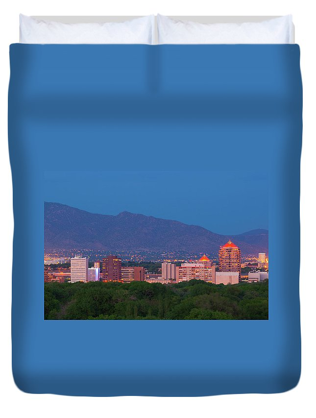 Downtown District Duvet Cover featuring the photograph Albuquerque Skyline At Dusk by Davel5957