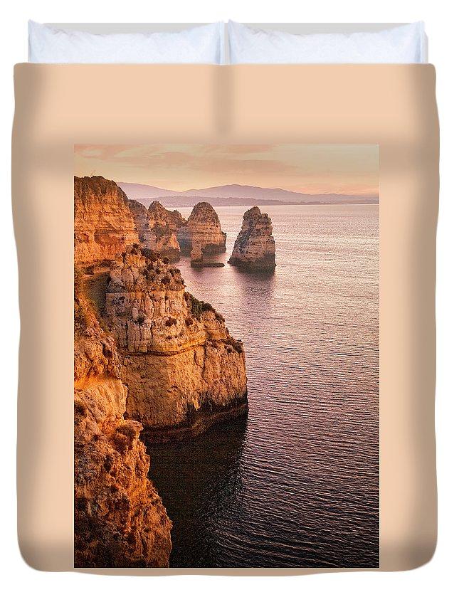Algarve Duvet Cover featuring the photograph Algarve Coastline, Lagos, Portugal by Zu Sanchez Photography
