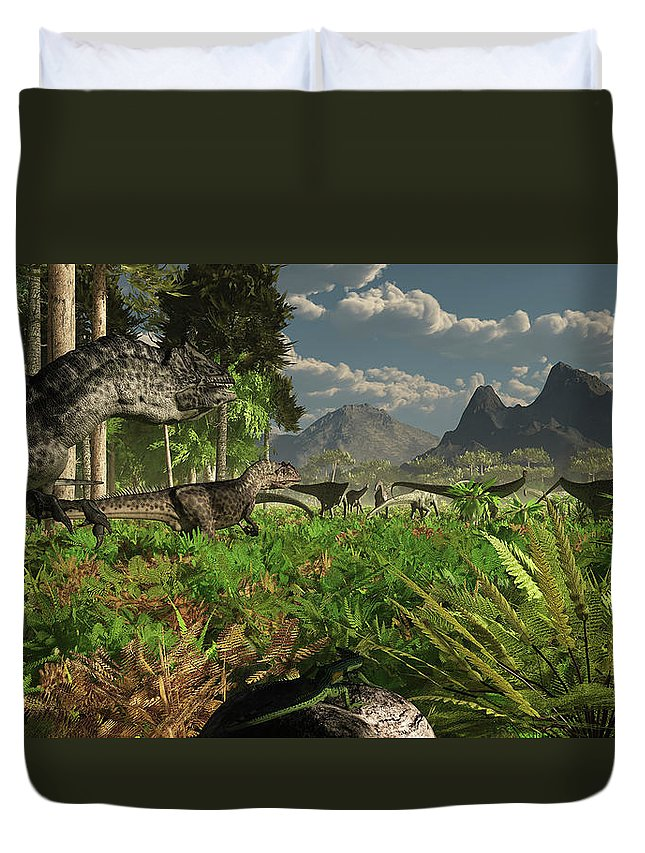 Toughness Duvet Cover featuring the digital art Allosaurus And Diplodocus Dinosaurs by Arthur Dorety/stocktrek Images