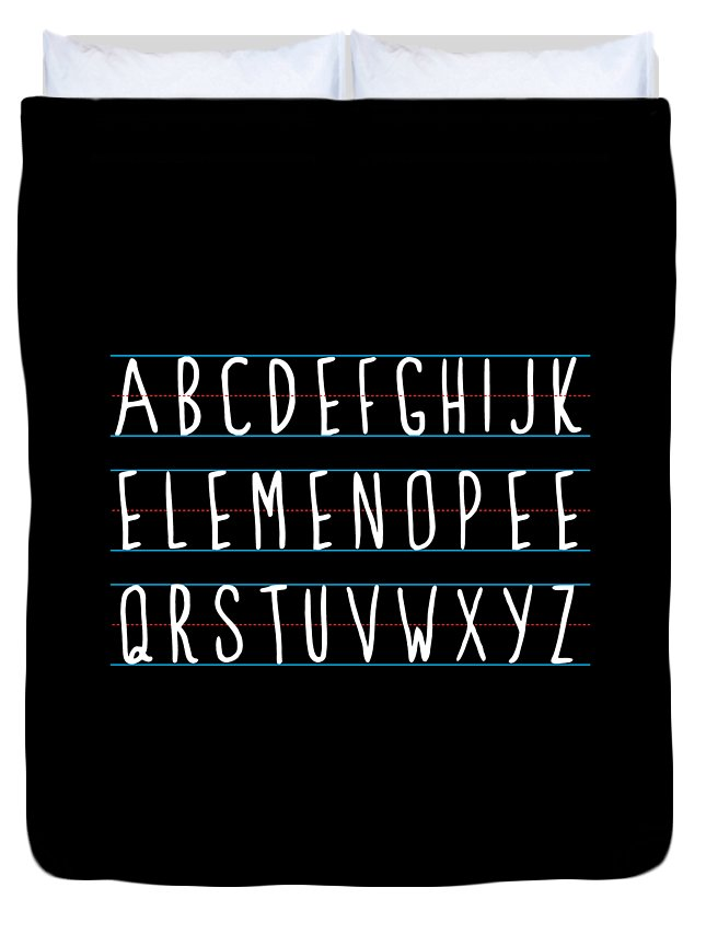 Cool Duvet Cover featuring the digital art Alphabet Elemeno by Flippin Sweet Gear