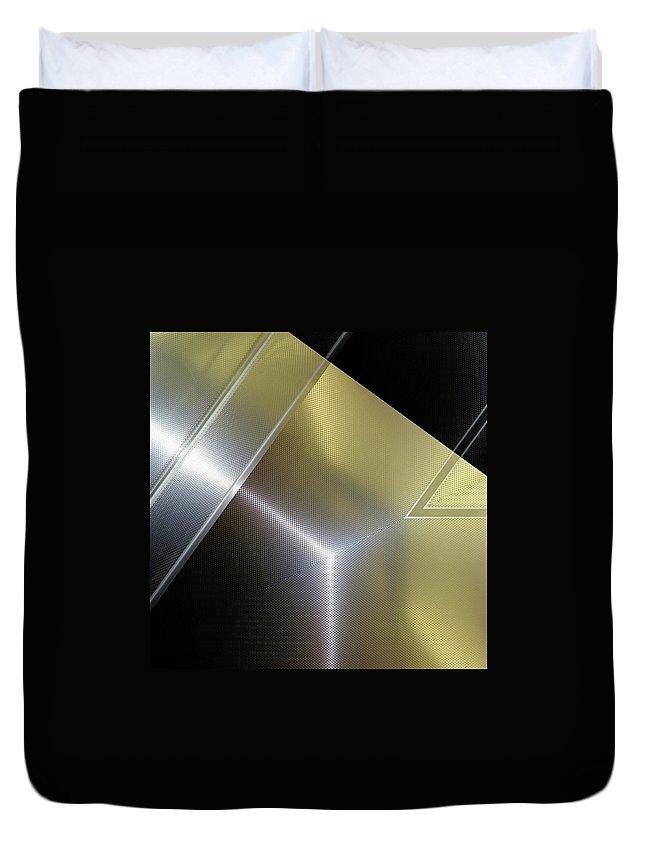 Fashion Duvet Cover featuring the digital art Aluminum Surface. Metallic Geometric Image.  by Rudy Bagozzi