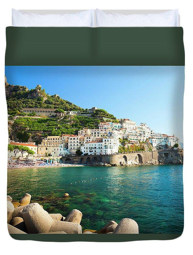 Tyrrhenian Sea Duvet Cover featuring the photograph Amalfi Coast, Italy by Brzozowska