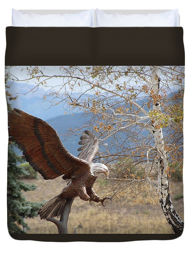 Eagle Duvet Cover featuring the photograph American Eagle in Autumn by Colleen Cornelius