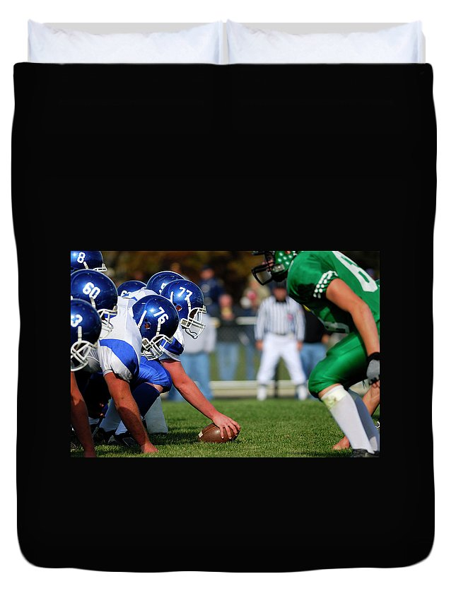 Sports Helmet Duvet Cover featuring the photograph American Football Line Of Scrimmage by Groveb