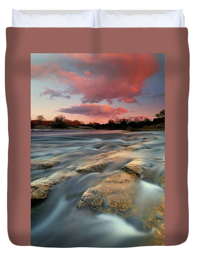 Scenics Duvet Cover featuring the photograph American River Parkway At Sunset by David Kiene