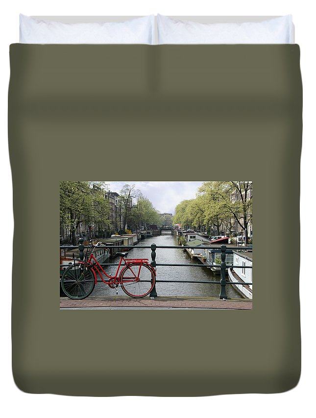 Row House Duvet Cover featuring the photograph Amsterdam City Scene by W-ings