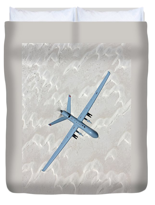 Aerodynamic Duvet Cover featuring the photograph An Mq-9 Reaper Flies A Training Mission by High-g Productions/stocktrek Images