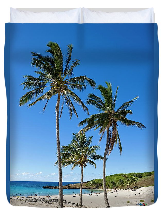 Scenics Duvet Cover featuring the photograph Anakena Beach, The Islands White Sand by Gavin Hellier / Robertharding