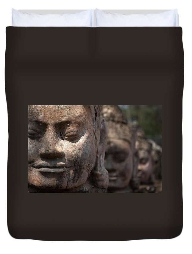 Art Duvet Cover featuring the photograph Angkor Warriors by Romulo Rejon