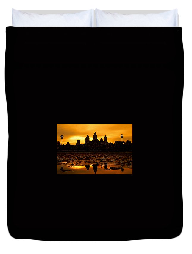 Cambodian Culture Duvet Cover featuring the photograph Angkor Wat At Sunrise by David Lazar
