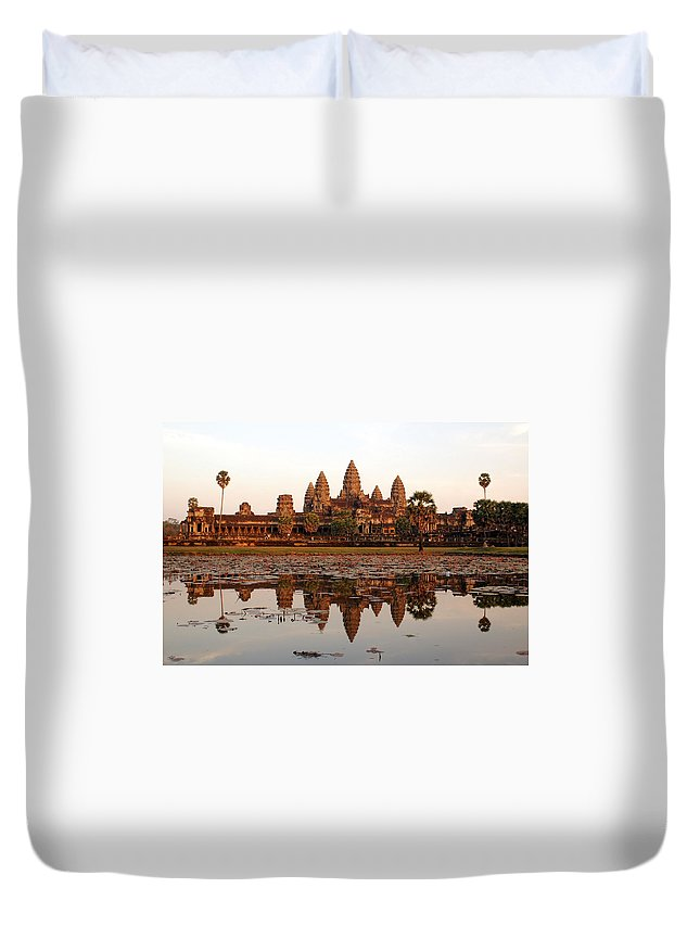 Tranquility Duvet Cover featuring the photograph Angkor Wat - Siem Reap - Cambodia by By Lionel Arnould