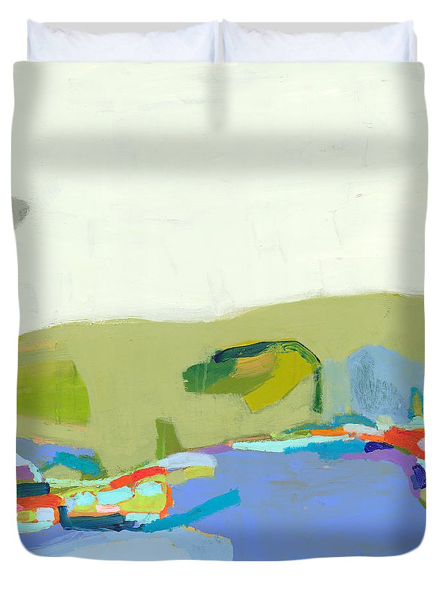 Abstract Duvet Cover featuring the painting Another Place by Claire Desjardins