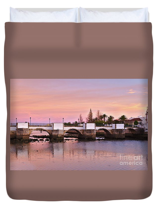 Portugal Duvet Cover featuring the photograph Antique Bridge Of Tavira During Twilight. Portugal by Angelo DeVal