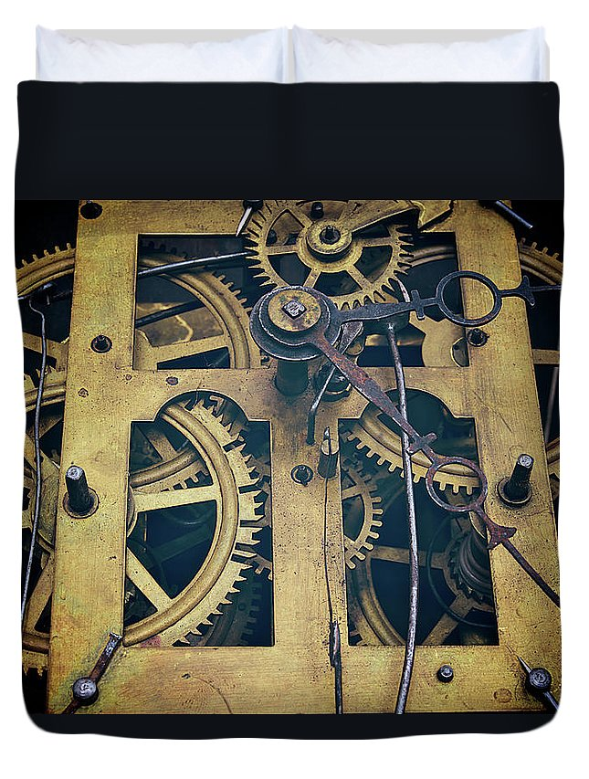 Gear Duvet Cover featuring the photograph Antique Clock Gears, Cog And Parts by Melissa Ross