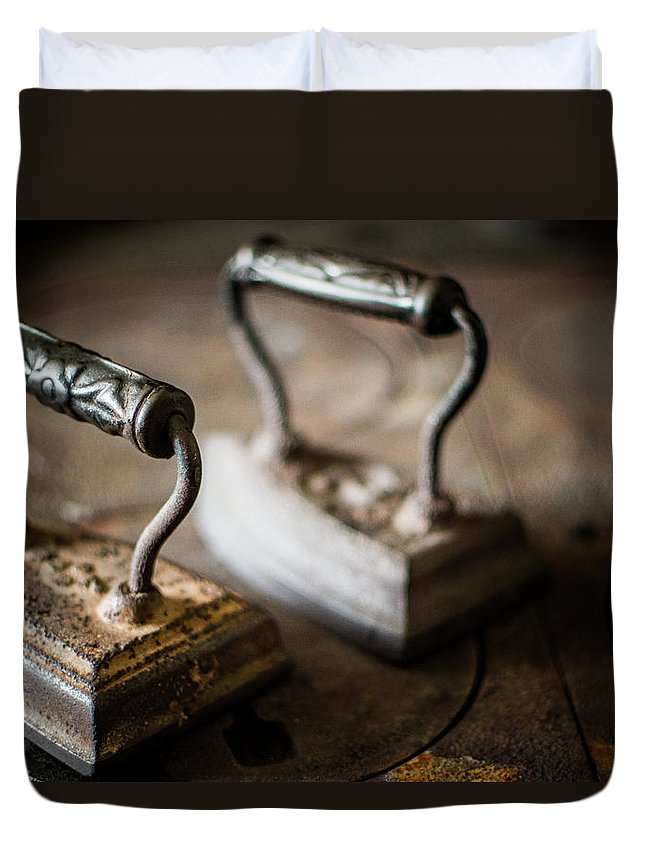 Two Objects Duvet Cover featuring the photograph Antique Irons by Jimss