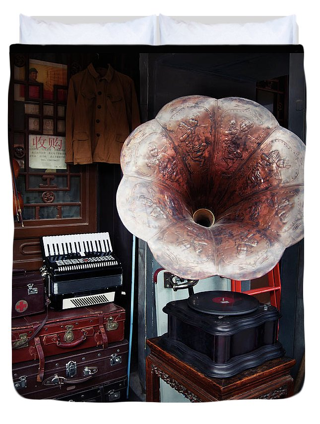 Flea Market Duvet Cover featuring the photograph Antique Victrola In Panjiayuan Flea by Design Pics / Keith Levit