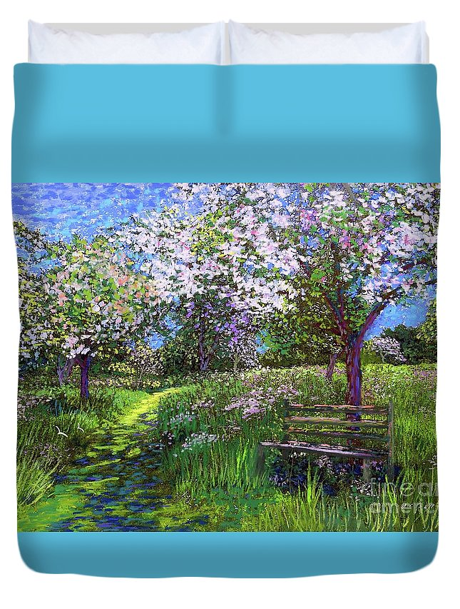 Sun Duvet Cover featuring the painting Apple Blossom Trees by Jane Small