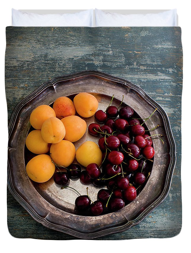 Tranquility Duvet Cover featuring the photograph Apricots And Cherries On Silver Tray by Bjurling, Hans