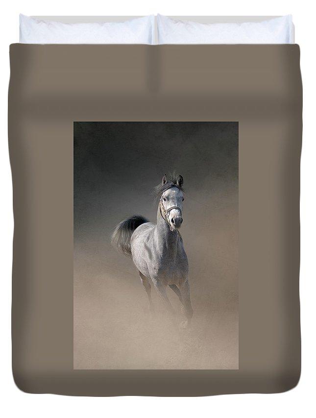 Horse Duvet Cover featuring the photograph Arabian Horse Running Through Dust by Christiana Stawski