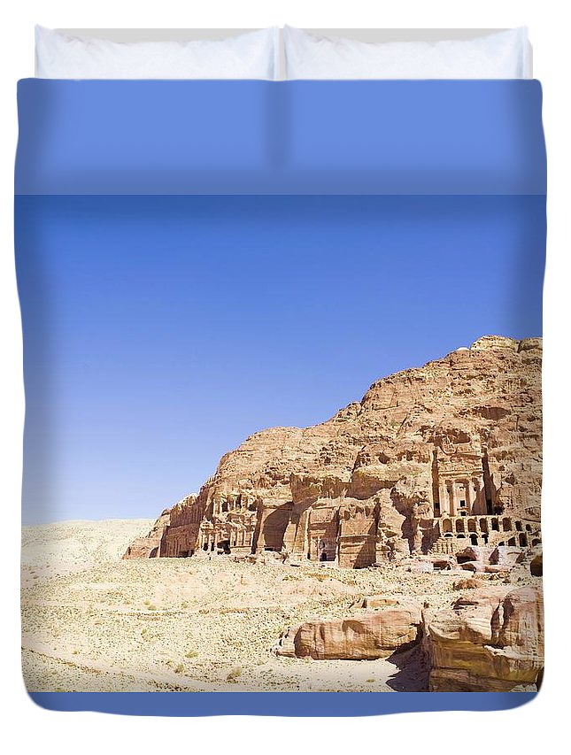 Scenics Duvet Cover featuring the photograph Archaeological Remains Of Petra by Gallo Images
