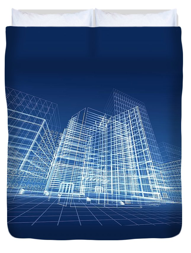Plan Duvet Cover featuring the photograph Architectural Blueprint Designs For by Dinn