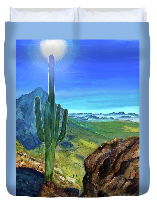 Arizona Duvet Cover featuring the digital art Arizona Heat by Susan Kinney