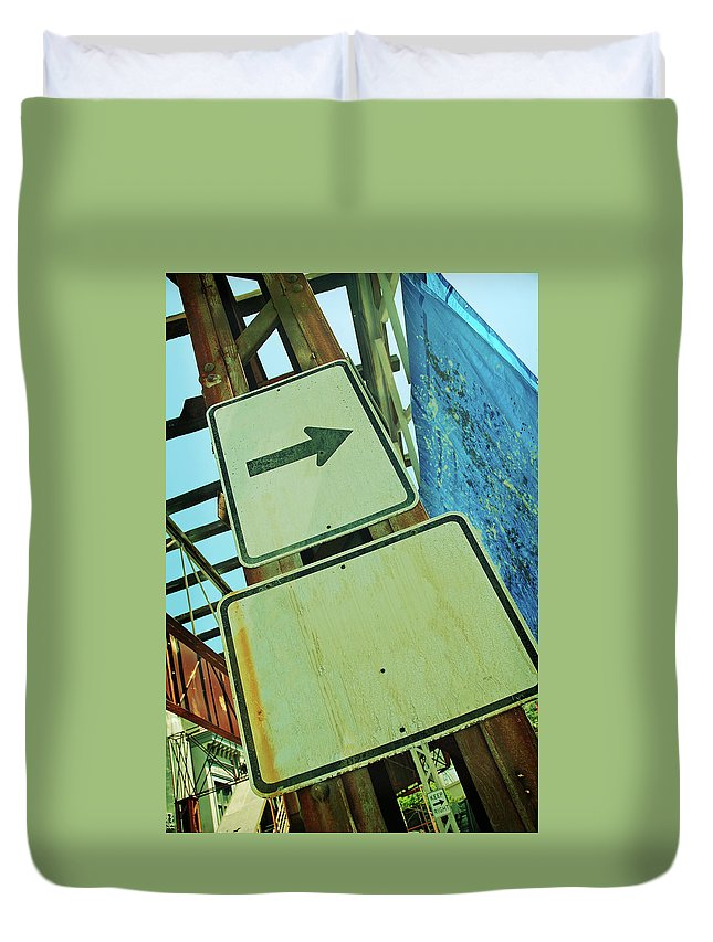 Aging Process Duvet Cover featuring the photograph Arrow Sign by Naphtalina