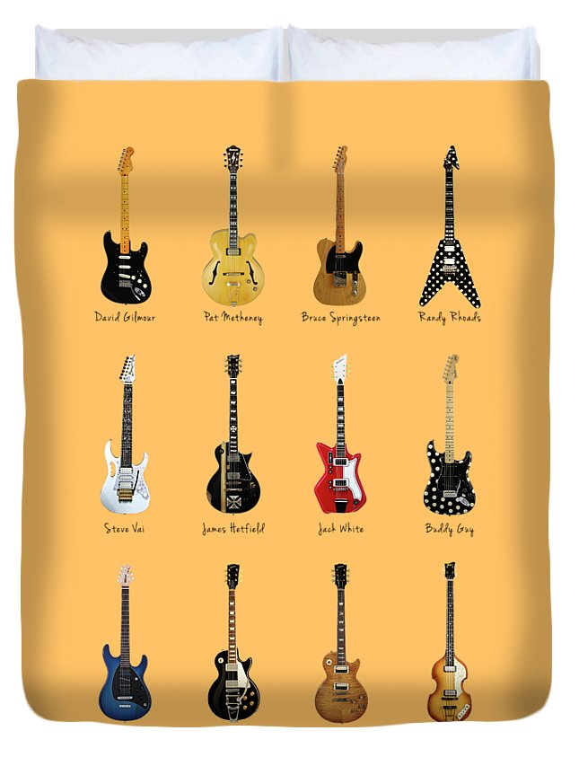 Fender Stratocaster Duvet Cover featuring the photograph Guitar Icons No2 by Mark Rogan