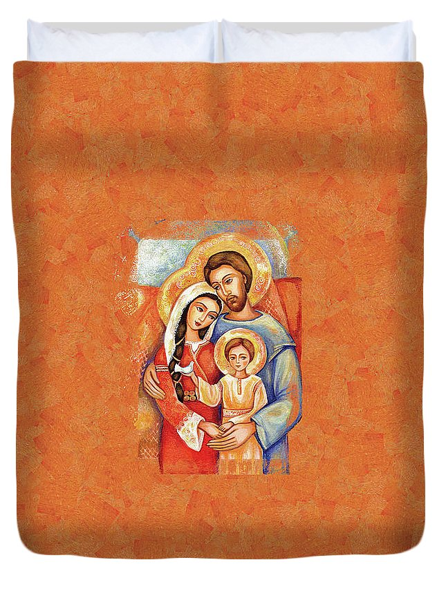 Holy Family Duvet Cover featuring the painting The Holy Family by Eva Campbell