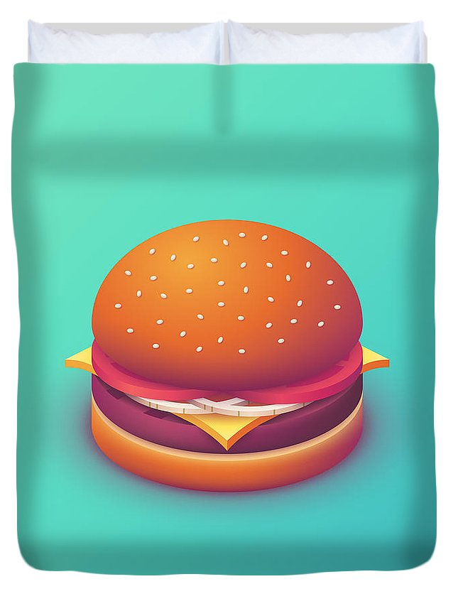 Burger Duvet Cover featuring the digital art Burger Isometric - Plain Mint by Ivan Krpan