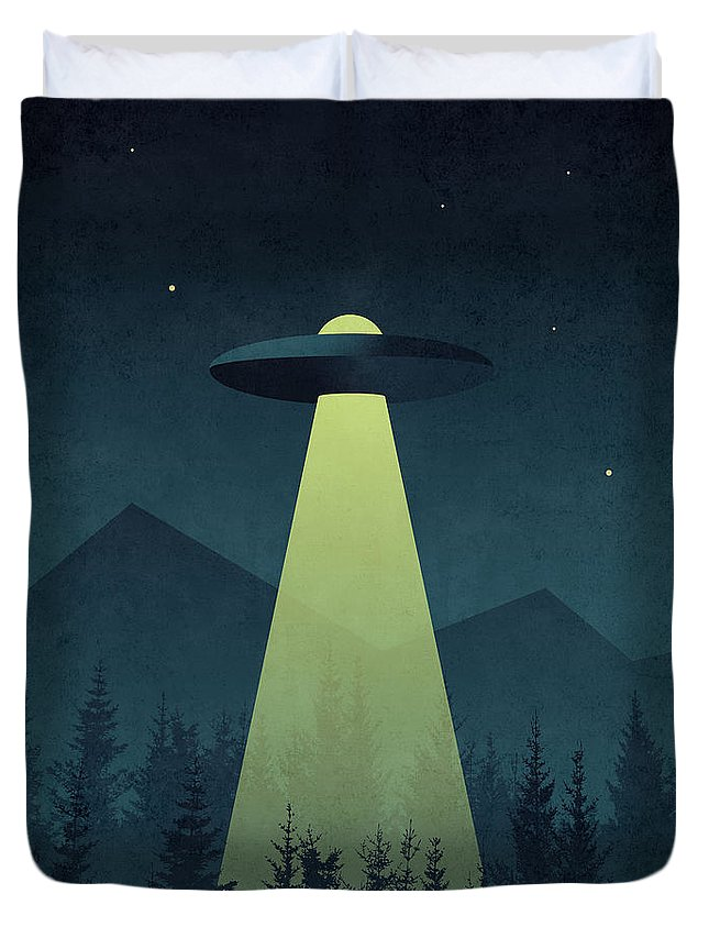 Forest Duvet Cover featuring the digital art Forest Ufo by Ivan Krpan