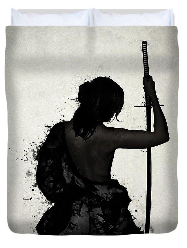 Female Duvet Cover featuring the digital art Female Samurai - Onna Bugeisha by Nicklas Gustafsson