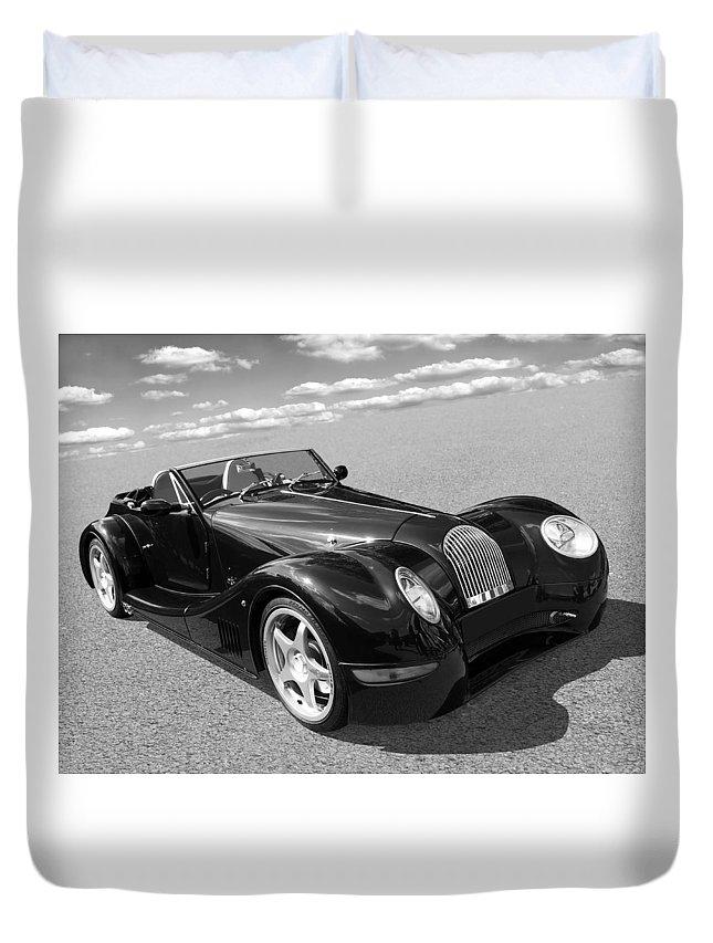 Morgan Duvet Cover featuring the photograph Morgan Aero 8 Black And White by Gill Billington