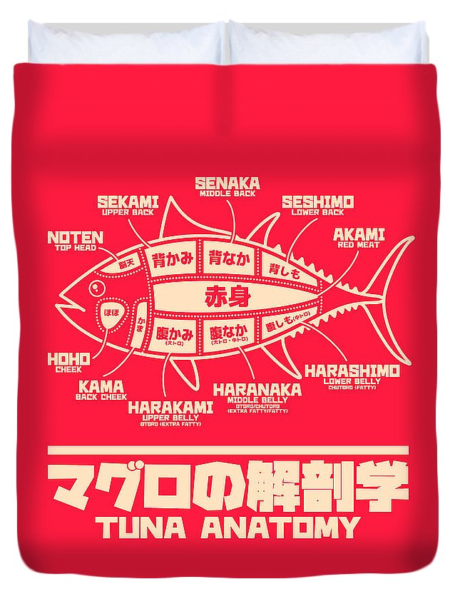 Tuna Duvet Cover featuring the digital art Tuna Anatomy Japanese Maguro Sushi Red by Organic Synthesis