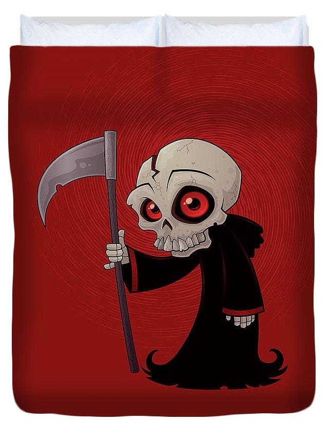 Grim Reaper Duvet Cover featuring the digital art Little Reaper by John Schwegel
