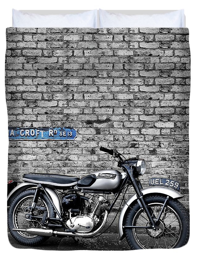 Triumph Duvet Cover featuring the photograph Triumph Tiger Cub by Mark Rogan