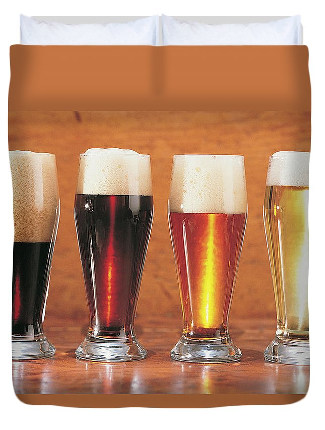 Stout Duvet Cover featuring the photograph Assorted Beers And Ales by Comstock