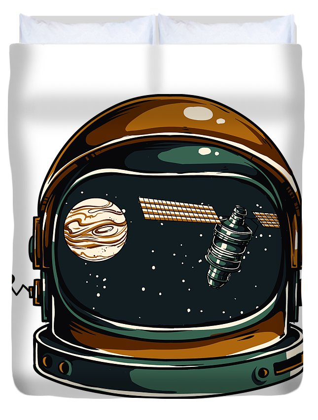 Spaceman Duvet Cover featuring the digital art Astronaut by Passion Loft