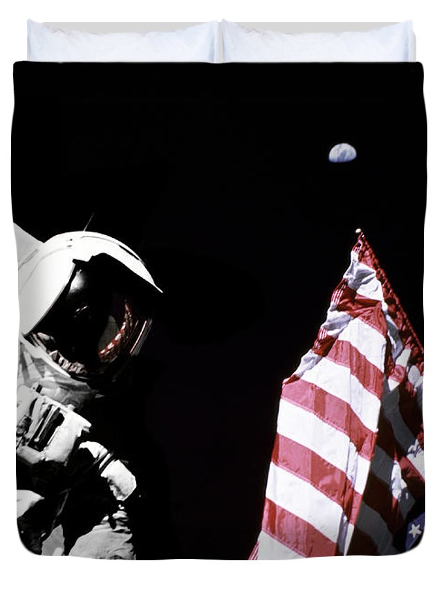 Space Duvet Cover featuring the digital art Astronaut With American Flag On The Moon by Filip Hellman