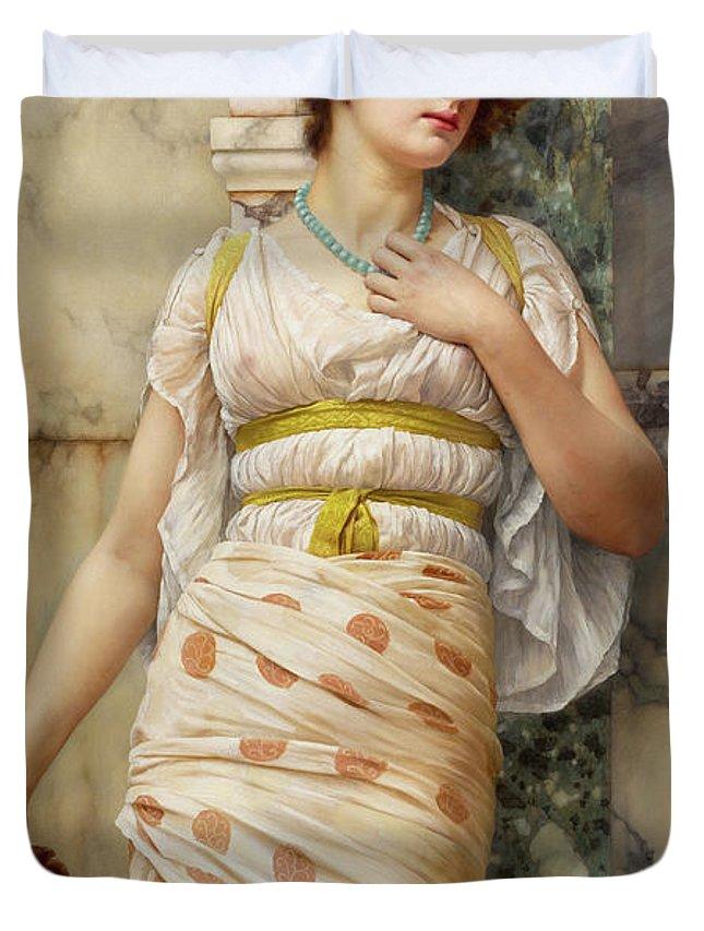 John William Godward Duvet Cover featuring the painting At The Fountain by John William Godward