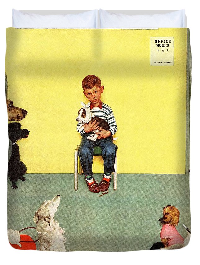 Boy Duvet Cover featuring the drawing At The Vets by Norman Rockwell