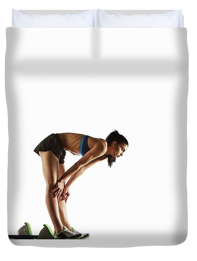 People Duvet Cover featuring the photograph Athlete Resting At Starting Block by Moof