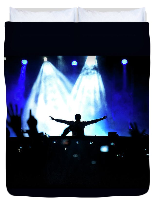 Rock Music Duvet Cover featuring the photograph Audience At A Rock Concert by Win-initiative