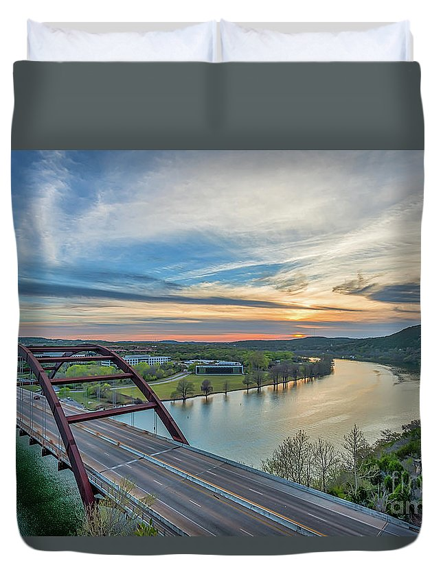 Austin Pennyback Bridge Duvet Cover featuring the photograph Austin 360 Bridge Sunset by Tod and Cynthia Grubbs