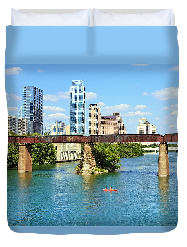 Scenics Duvet Cover featuring the photograph Austin Texas Skyline, Colorado River by Dszc