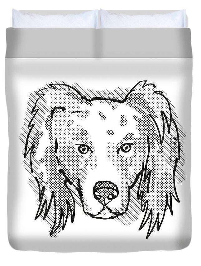 Retro Duvet Cover featuring the digital art Australian Shepherd Dog Breed Cartoon Retro Drawing by Aloysius Patrimonio